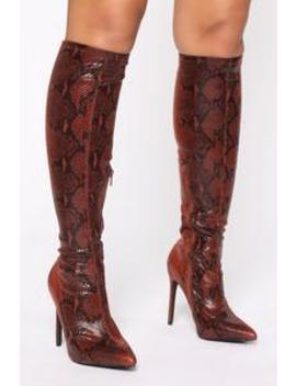 You Kneed This Boots   Chocolate Snake by Fashion Nova