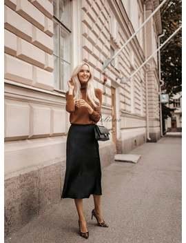 Silk Skirt Midi Long Fall Look Black A Line Skirt Outfit Silk Slip Bias Black Wear Street Style Looks Silk Fall Trends Long Women Skirt by Etsy
