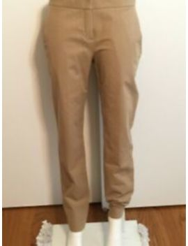 Theory Sz 8 Pants Khaki Womens Tan Flat Front Trousers Slacks Beige Nwot 3485 by Theory