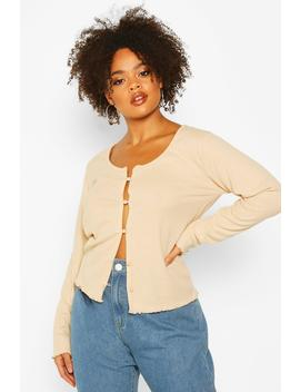 Plus Brushed Knitted Rib Button Cardigan by Boohoo