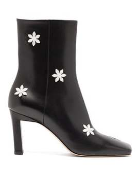 Isa Flower Embellished Leather Ankle Boots by Wandler