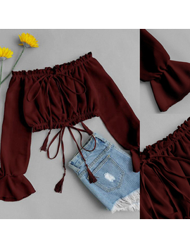 Women's Casual Off Shoulder Blouse Tank Tops Vest Blouse Crop Tops Lace Up T Shirt Red Size S by Hirigin