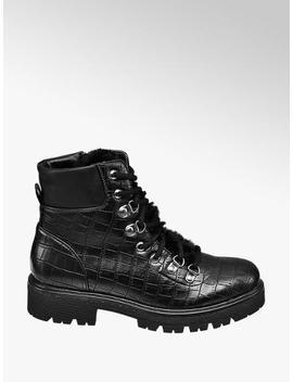 Black Croc Ankle Boots by Graceland