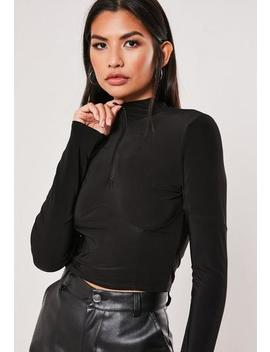 Black Slinky Zip High Neck Corset Detail Top by Missguided