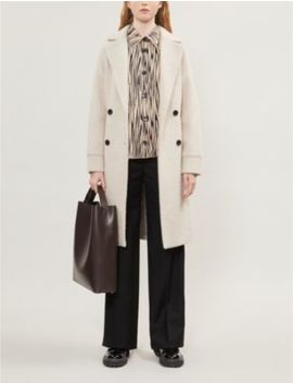 Double Breasted Houndstooth Brushed Felt Coat by Maje
