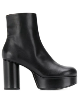 Ankle Leather Platform Booties by Jil Sander