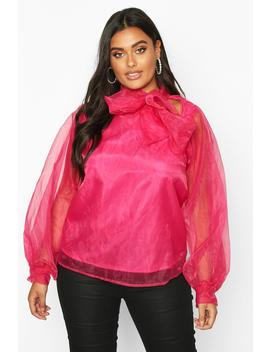 Plus Organza Bloujon Sleeve Pussybow Blouse by Boohoo