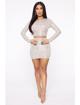 Sparkle Mami Sequin Set   Silver by Fashion Nova