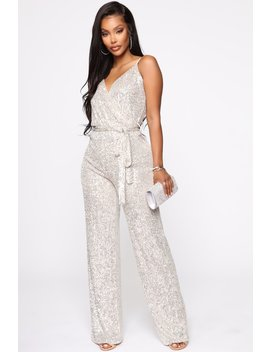 Can't Hide The Shine Sequin Jumpsuit   Silver by Fashion Nova