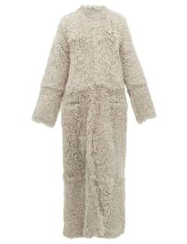 Collarless Curly Shearling Maxi Coat by Raey