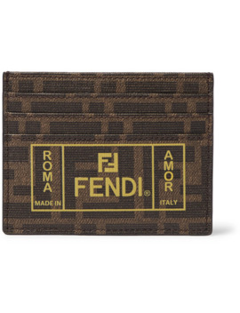 Logo Print Cross Grain Leather Cardholder by Fendi