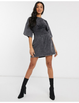 Missguided Corset T Shirt Dress In Washed Grey by Missguided's