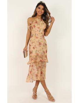 We Believe In Beauty Dress In Peach Floral by Showpo Fashion