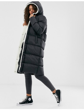 Brave Soul Tall Hoplong Padded Coat With Borg Lining In Black by Asos