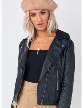 Outlaw Blues Moto Jacket Black by Princess Polly
