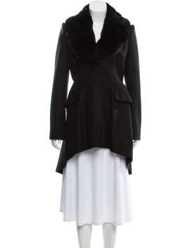 Wool Fur Trimmed Coat by Alberta Ferretti