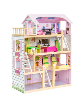 Best Choice Products 4 Level 32.25in Kids Wooden Cottage Uptown Dollhouse W/ 13 Pieces Of Furniture, Play Accessories by Best Choice Products