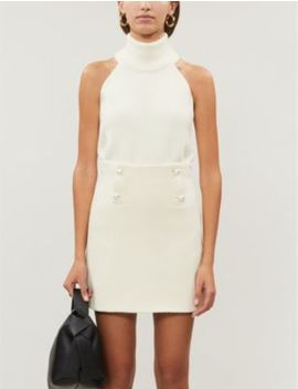 Dayna Faux Pearl Button Wool Mini Skirt by Sandro