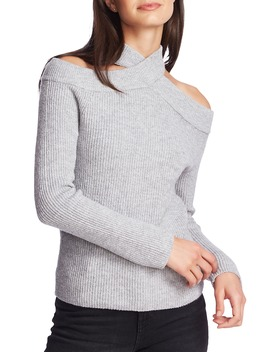 Cross Neck Cold Shoulder Cotton Blend Sweater by 1.State
