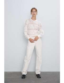 Strikket Sweater Med HulmØnster by Zara