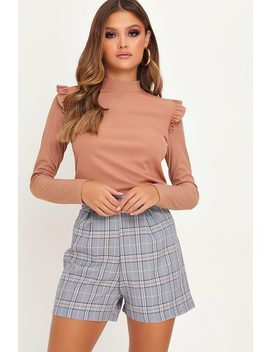 Beige High Neck Frill Shoulder Ribbed Top by I Saw It First