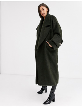 Asos Design Tall Hero Coat With Cuff Detail In Khaki by Asos Design