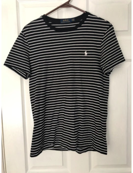 Men's Black And White Striped Polo Ralph Lauren T Shirt by Polo Ralph Lauren  ×