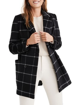 Hollis Windowpane Check Double Breasted Coat by Madewell