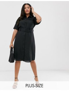 Fashion Union Plus Midi Button Down Shirt Dress With Lace Panel And Belt by Fashion Union's