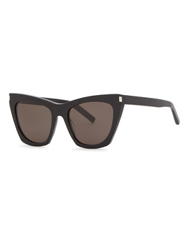 Sl214 Kate Black Cat Eye Sunglasses by Saint Laurent