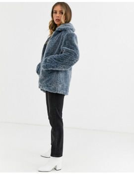 Urban Bliss Zip Through Faux Fur Coat With Deep Cuffs by Urban Bliss'