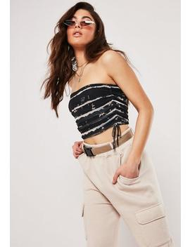 Black Tie Dye Mesh Bandeau Bralet by Missguided