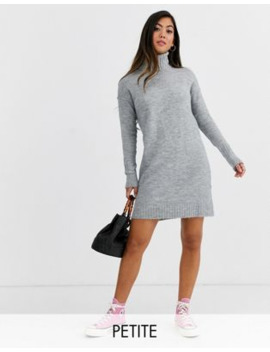Vero Moda Petite Knitted Roll Neck Dress In Grey by Vero Moda