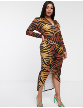 John Zack Plus Wrap Front Maxi Dress In Zebra Print by John Zack