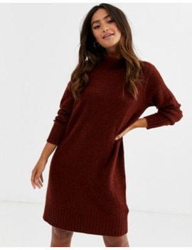 Jdy Chunky Roll Neck Mini Dress In Brown by Jdy's