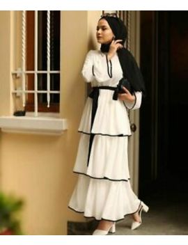 Muslim Women Cocktail Party Layered Maxi Dress Fashion Tiered Abaya Robe Gown by Unbranded