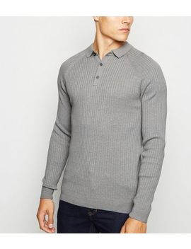 Pale Grey Ribbed Muscle Fit Polo Shirt by New Look