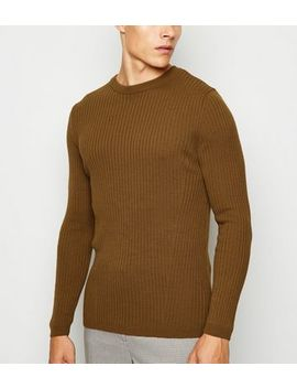 Brown Long Sleeve Muscle Fit Jumper by New Look
