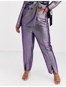 Asos Design Curve Oilslick Metallic Slim Suit Pants by Asos Design