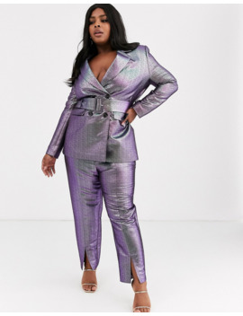 Asos Design Curve Oilslick Metallic Belted Suit Blazer by Asos Design