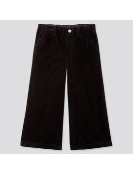 Girls Corduroy Wide Leg Cropped Fit Trousers by Uniqlo