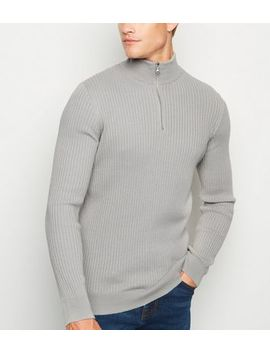 Grey Ribbed Muscle Fit Jumper by New Look