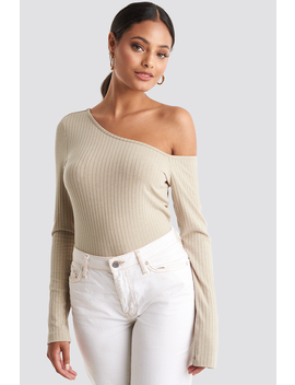 Ribbed One Shoulder Long Sleeve Top Beige by Na Kd Trend