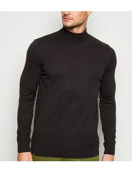 Black Fine Knit Roll Neck Top by New Look