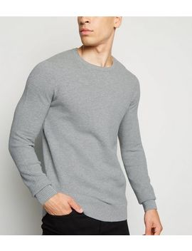 Pale Grey Waffle Knit Muscle Fit Jumper by New Look