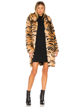 Faux Fur Animal Print Coat In Tiger by Kendall + Kylie