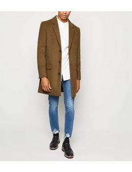 Camel Double Pocket Overcoat by New Look