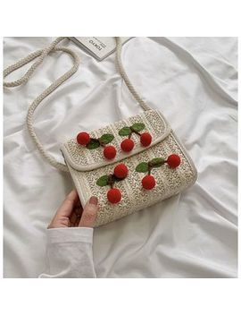 Bag Gang   Cherry Applique Straw Crossbody Bag by Bag Gang
