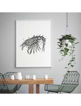 Black And White Shrimp Print, Shrimp Poster, Ocean Decor, Wall Art, Art, Accessories, Kitchen Food Art, Illustration Print, Food Artwork by Etsy
