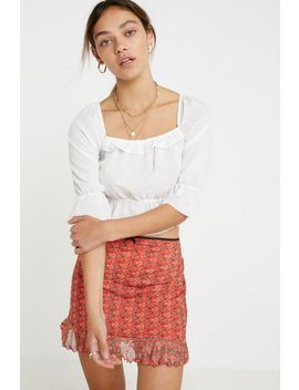 Uo Floral Mesh Ruffle Mini Skirt by Urban Outfitters